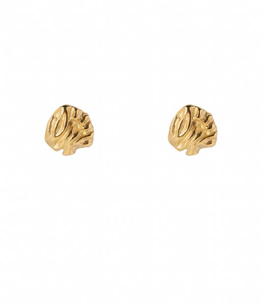 The Little Green Bag Oorbellen Leaf Studs X My Jewellery gold colored