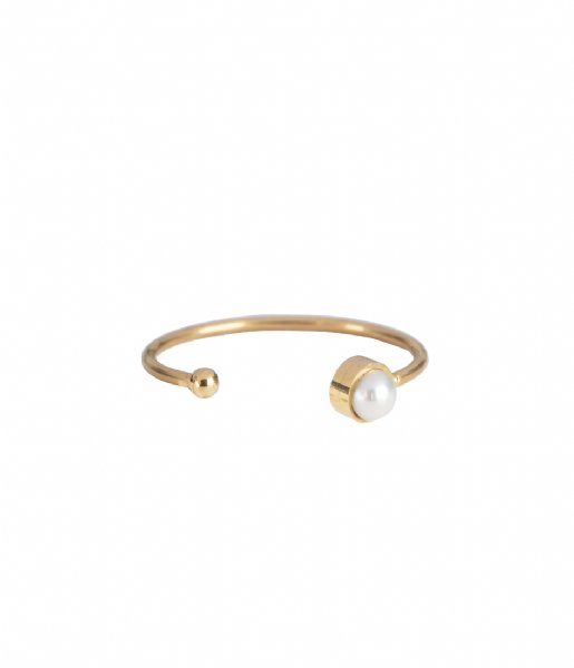 The Little Green Bag Ring Pearl Ring X My Jewellery gold colored