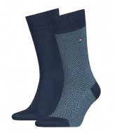 Tommy Hilfiger Men Sock 2P Micro  Herringbone Illusion Blue (002)