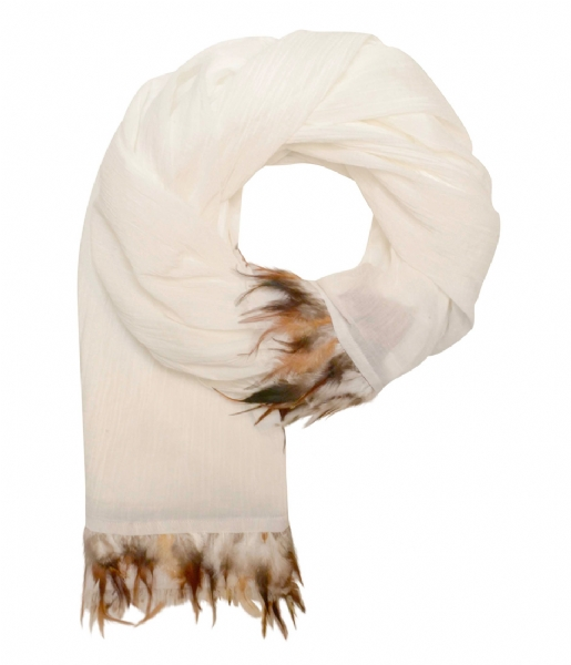 Unmade Copenhagen Sjaal Pleated Feather Scarf white