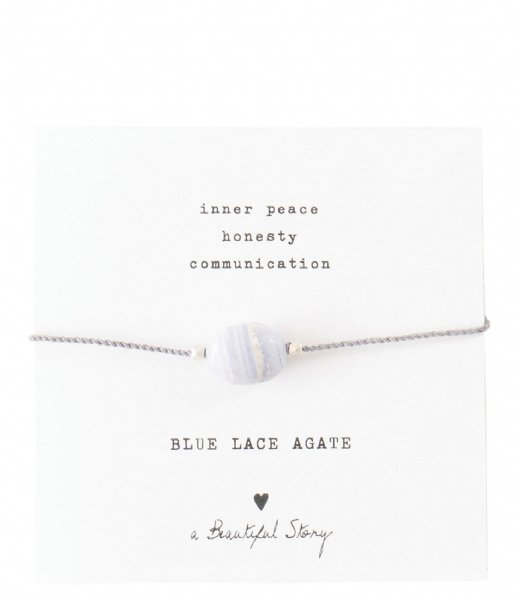A Beautiful Story Armband Gemstone Card Blue Lace Agate Silver Plated Bracelet silver plated (BL22574)