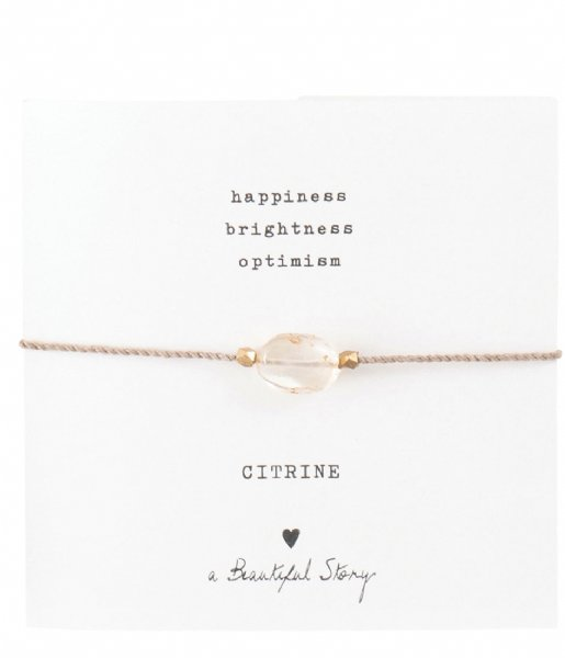 A Beautiful Story Armband Gemstone Card Citrine Gold Plated Bracelet gold plated (BL23074)