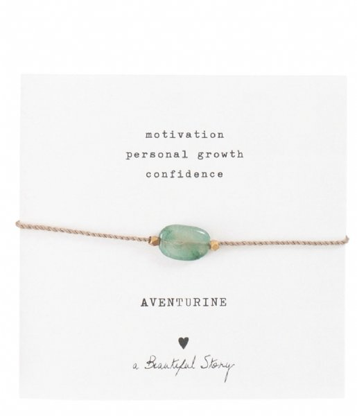 A Beautiful Story Armband Gemstone Card Aventurine Gold Colored Bracelet Gold Colored (BL23274)