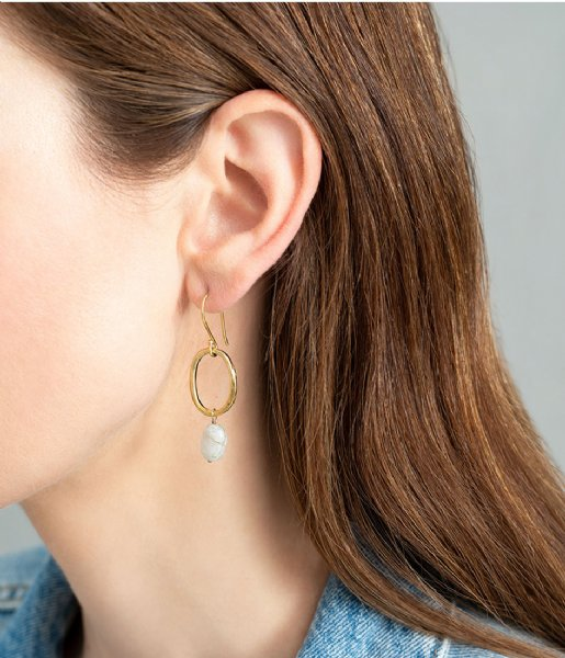 A Beautiful Story Oorbellen Graceful Moonstone Gold Plated Earrings gold plated (AW24234)