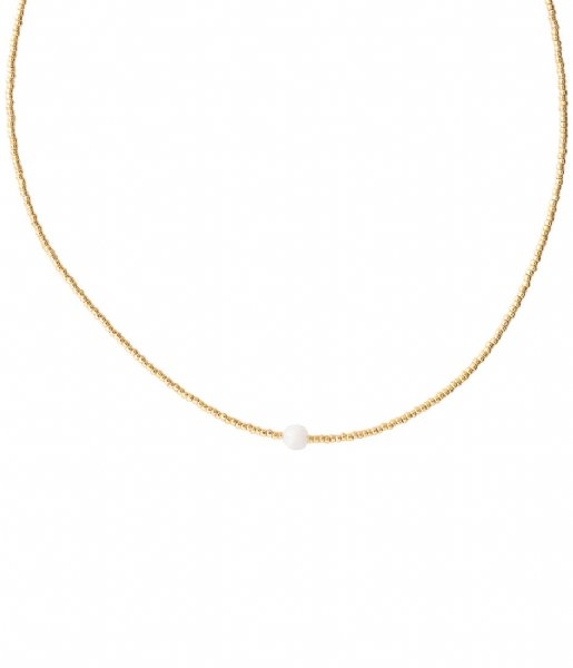 A Beautiful Story Ketting Flora Moonstone Gold Necklace gold colored