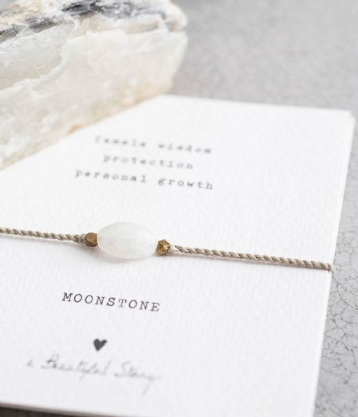 A Beautiful Story Armband Gemstone Card Moonstone Gold Plated Bracelet gold plated (BL22374)