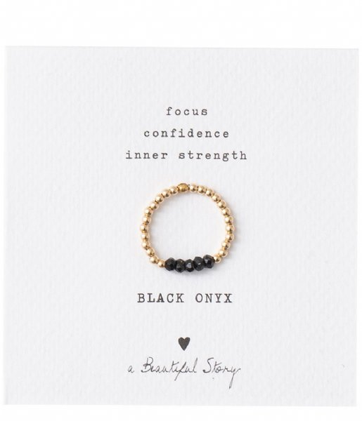 A Beautiful Story Ring Beauty Black Onyx Gold Ring S/M black gold (BL22475)