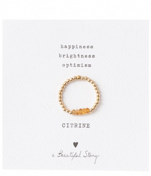 A Beautiful Story Ring Beauty Citrine Gold Plated Ring S/M gold plated (BL23075)