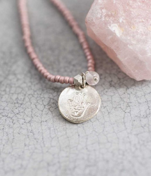 A Beautiful Story Ketting Truly Rose Quartz Hamsa Silver Necklace zilver (BL24108)