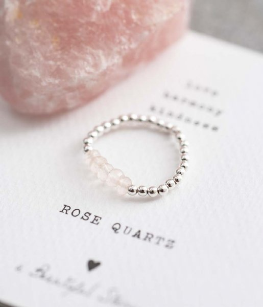 A Beautiful Story Ring Beauty Rose Quartz Silver Ring M/L zilver (BL24136)
