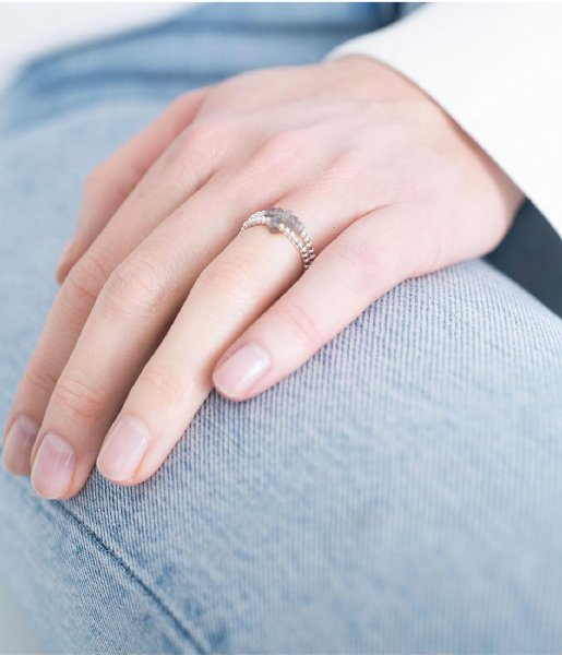 A Beautiful Story Ring Beauty Labradorite Silver Ring M/L zilver (BL24736)