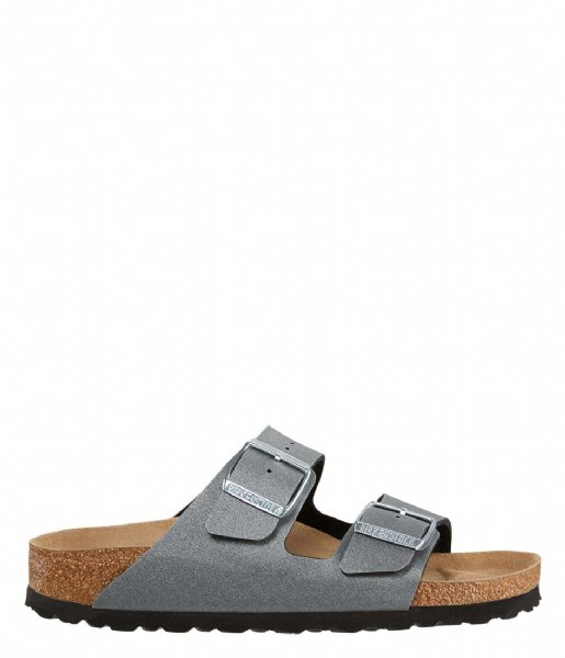 Birkenstock Slippers Arizona narrow Birko-Flor Nubuck Icy metallic anthracite