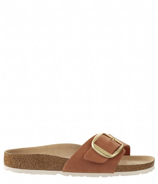 Birkenstock Slippers Madrid narrow Big Buckle Nubuck Brandy