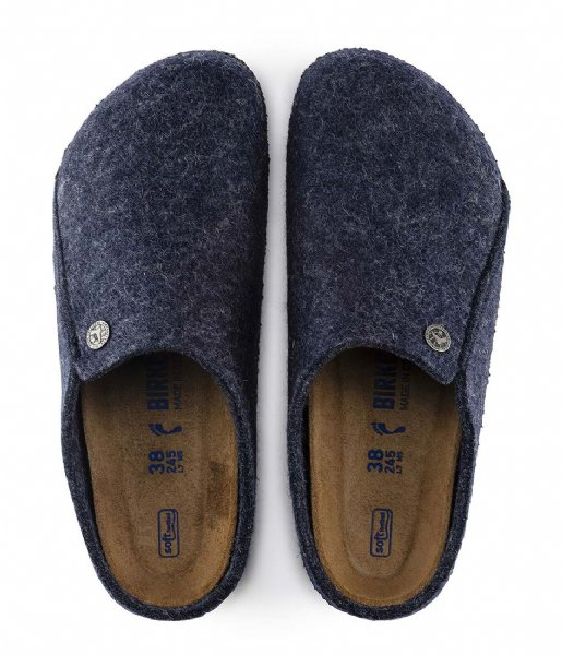 Birkenstock Pantoffels Zermatt narrow Filz Soft Cozy Home dark blue