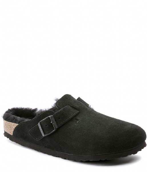 Birkenstock Pantoffels Boston narrow Shearling Veloursleder Suede Black