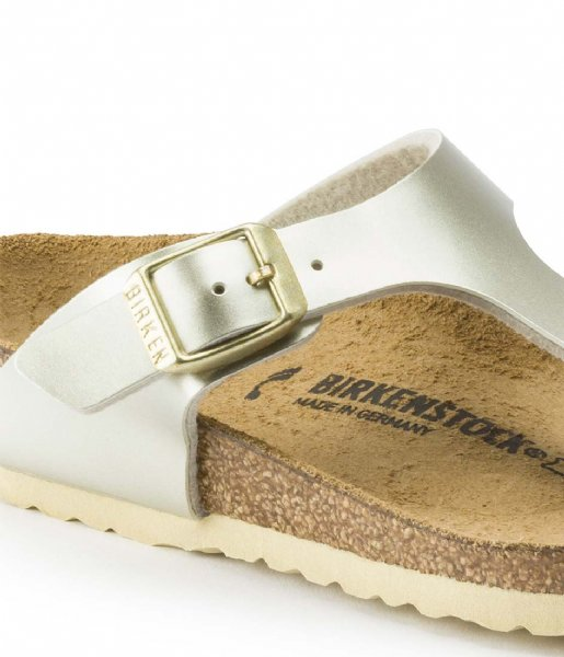 Birkenstock Slippers Gizeh Kids BF Electric Metallic Narrow Gold colored (1015593)Q1-21
