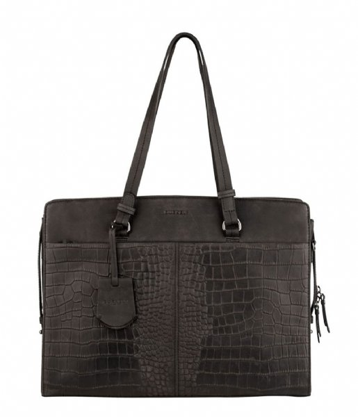 Burkely Laptop schoudertas Burkely Croco Cody Workbag 15.6 Inch Zwart (10)