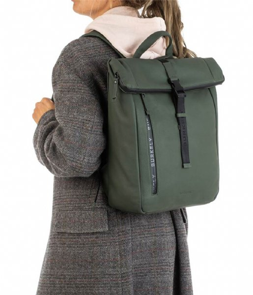 Burkely Laptop rugzak Rain Riley Backpack Rolltop 14 Inch Oil Green (74)