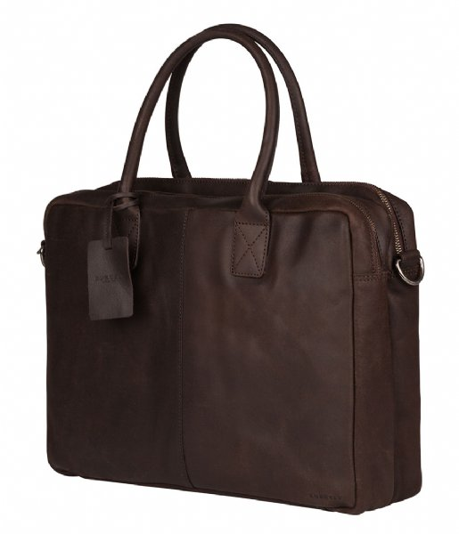 Burkely Laptop schoudertas Burkely Vintage Taylor Worker 15.6 Inch dark brown (20)
