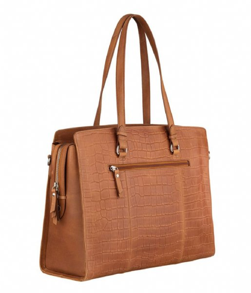 Burkely Laptop schoudertas Croco Caia Workbag 15.6 Inch Cognac (24)