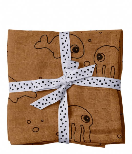 Done by Deer Baby Accessoire Burp Cloth 2-Pack Sea Friends Mustard (3003094)