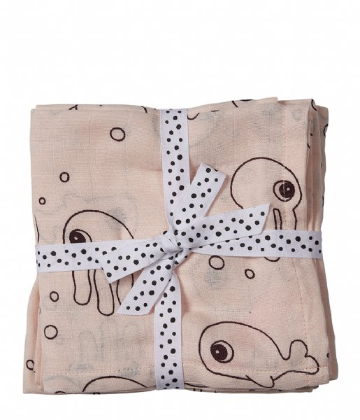 Done by Deer Baby Accessoire Burp Cloth 2-Pack Sea Friends Powder (3003091)