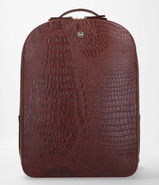 FMME Dagrugzak Claire Laptop Backpack Croco 13.3 Inch brown (021)