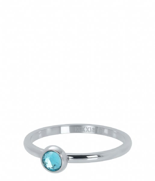 iXXXi Ring 1 Zirconia water blue Silver colored (03)