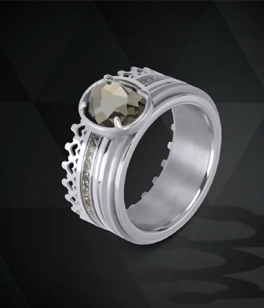 iXXXi Ring Glam Oval Crystal Silver colored (03)