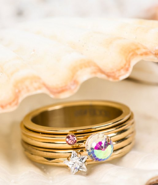iXXXi Ring Pink 1 stone crystal Gold colored (01)