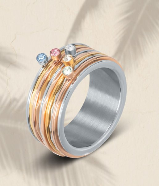 iXXXi Ring Green 1 stone crystal Rosé colored (02)