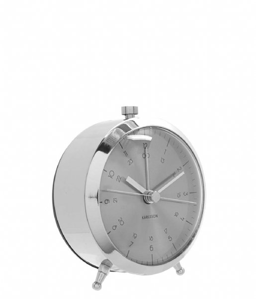 Karlsson Wekker Alarm clock Button BOX32 Design brushed steel (KA5599SI)