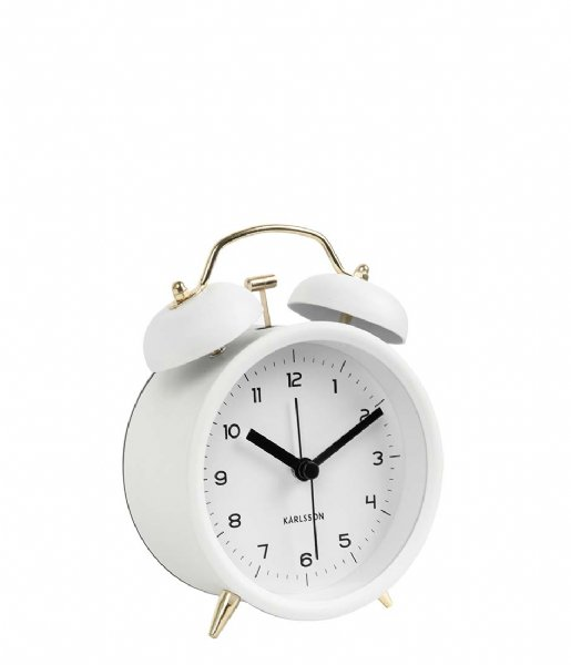 Karlsson Wekker Alarm clock Classic Bell BOX32 white with gold colored (KA5659WH)