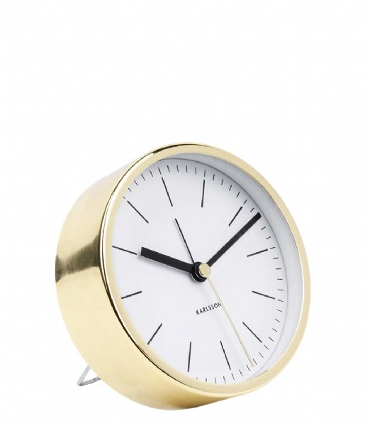 Karlsson Wekker Alarm clock Minimal BOX32 Design white shiny gold colored case (KA5683WH)