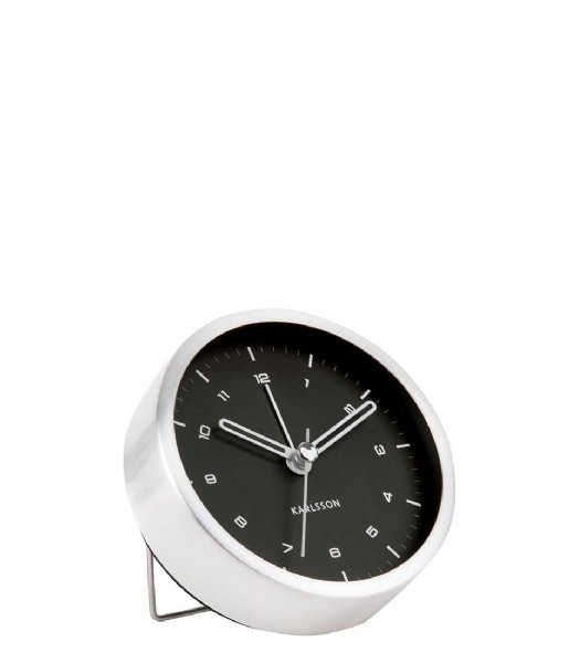 Karlsson Wekker Alarm clock Tinge black dial Design Armando Breeveld brushed steel white dial (KA5845SI)