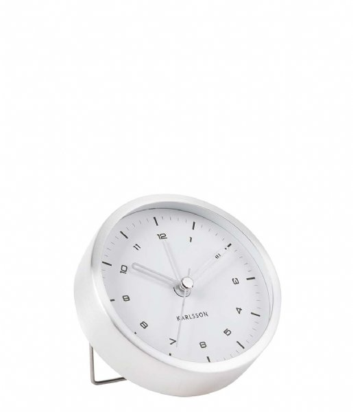 Karlsson Wekker Alarm clock Tinge white dial Design Armando Breeveld brushed steel white dial (KA5844SI)