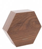 Karlsson Alarm clock Hexagon veneer, white LED Dark wood (KA5651DW)
