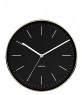 Karlsson Wall clock Minimal BOX32 Design black shiny gold colored case (KA5695BK)