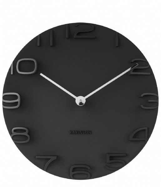 Karlsson Wandklok Wall clock On The Edge w. chrome hands Black (KA5311BK)