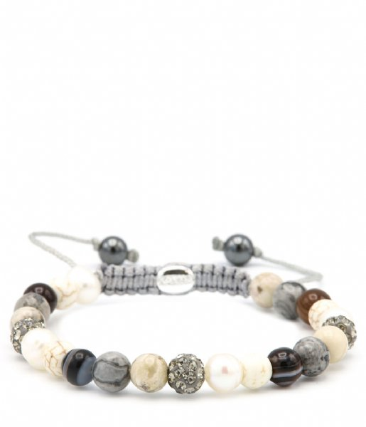 Karma Armband  Spiral Diamond and Pearl XS Grey