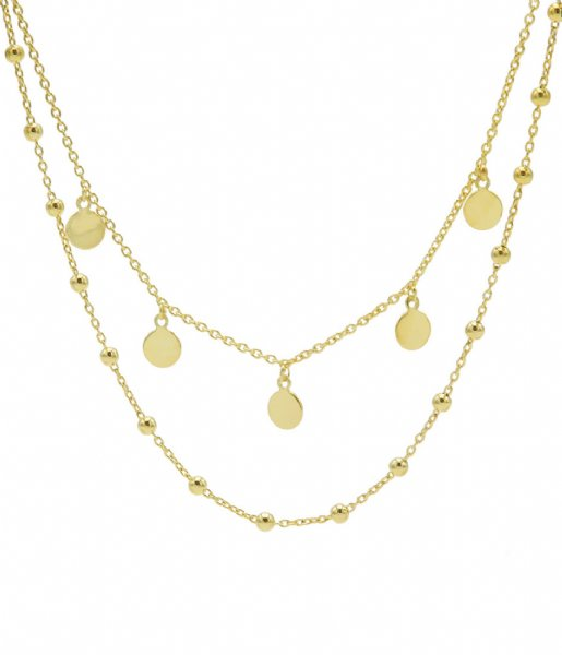Karma Ketting Karma Double Necklace Dots 5 Discus Zilver Goldplated (T88)