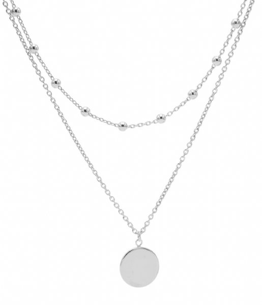 Karma Ketting Karma Double Necklace Dots Disc Zilver (T80)