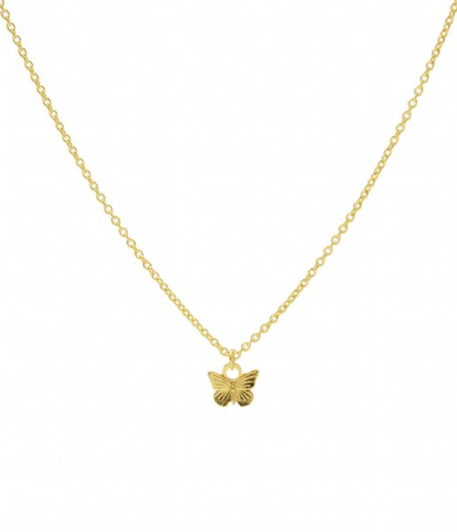 Karma Ketting Karma Necklace Butterfly Zilver Goldplated (T232)