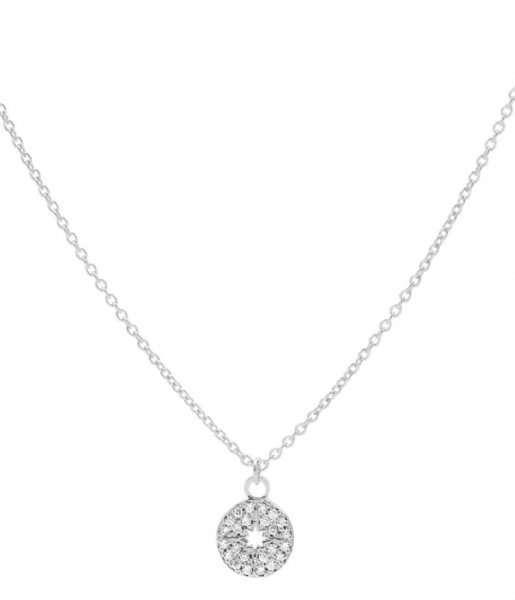 Karma Ketting Karma Necklace Diamond Disc Silver colored Silverplated silver colored stones (T224)
