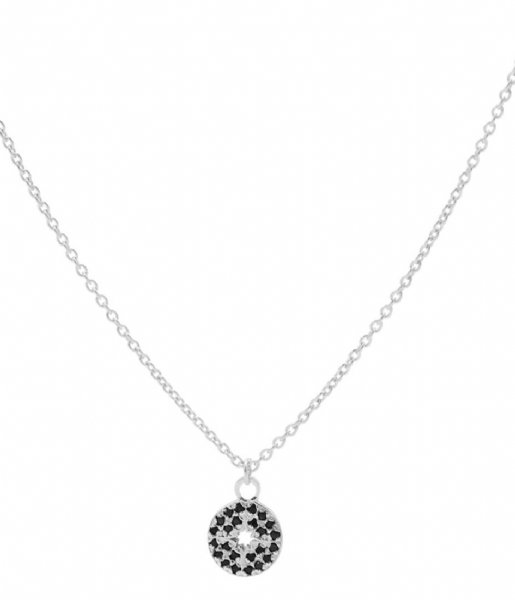 Karma Ketting Karma Necklace Diamond Disc Silver colored Silverplated gold colored stones  (T224B)