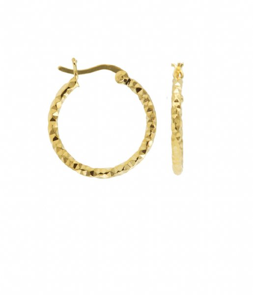 Karma Oorbellen Plain Hoops DC Hammered Zilver Goldplated (M2939)