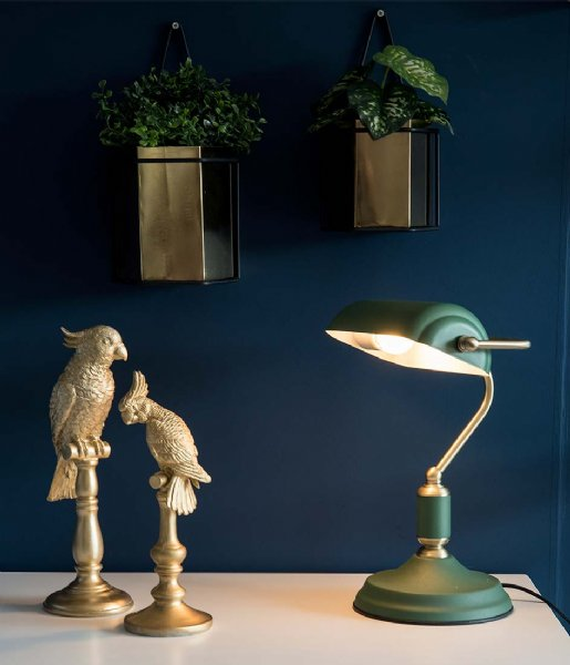 Leitmotiv Tafellamp Table lamp Bank iron green with antique gold plated (LM1890GR)