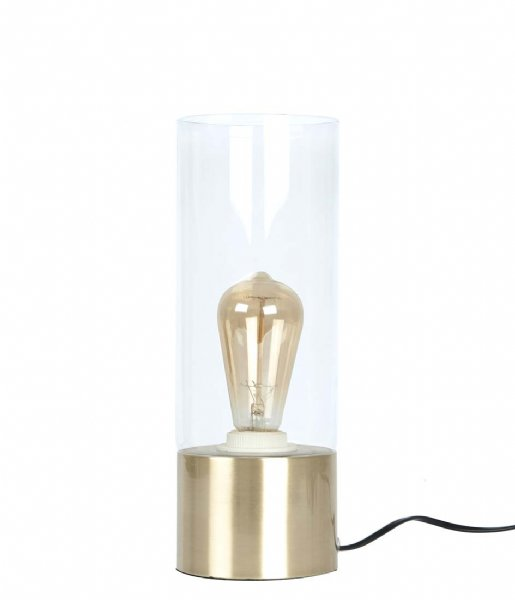Leitmotiv Tafellamp Table lamp Lax gold plated base clear glass (LM1316)