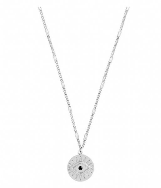My Jewellery Ketting Pendant Necklace Coin Eye silver colored (1500)