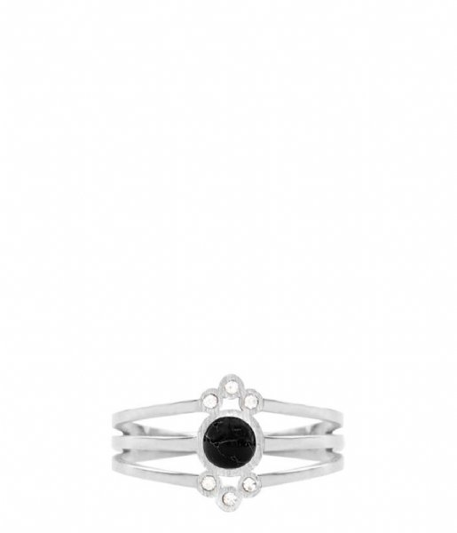 My Jewellery Ring Triple Ring Dots & Stone Black silver colored (1500)